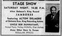 Advertisement Alton Delmore stage show