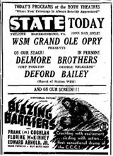 Advertisement Delmore Brothers Deford Bailey