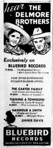 Advertisement Delmore Brothers Bluebird