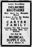 Advertisement Delmore Brothers Carter Family