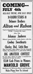 Annonce show Delmore Brothers radio stars