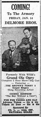 Advertisement Delmore Brothers formerly Grand Ole Opry