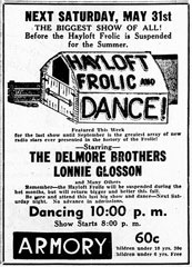 Advertisement Delmore Brothers Hayloft Frolic Dance