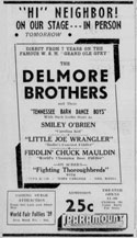 Advertisement Delmore Brothers with Smiley o'Brien