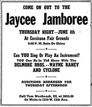 Advertisement Delmore Brothers Jaycee Jamboree