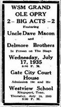Advertisement Delmore Brothers Uncle Dave Macon