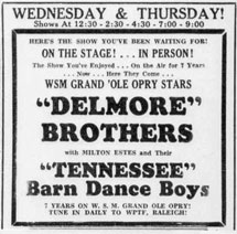 Advertisement Delmore Brothers Barn Dance Boys