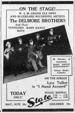 Advertisement Delmore Brothers Barn Dance Boys on stage