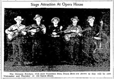 Advertisement Delmore Brothers Barn Dance Boys at Opera House