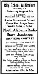 Advert Delmore Brothers WAPI Radio