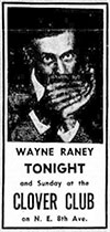 Wayne Raney advertisement Clover Club