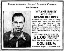 Wayne Raney advertisement Grand Ole Opry