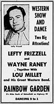 Wayne Raney advertisement western