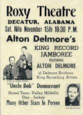 Poster Alton Delmore au Roxy Theatre,15 novembre 1952
