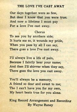 Lyrics The Love I Cast Away Delmore Brothers
